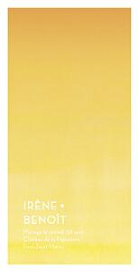 Menu de mariage jaune aquarelle jaune