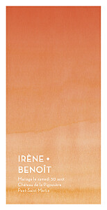 Menu de mariage orange aquarelle orange