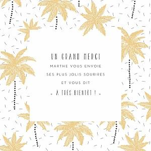 Carte de remerciement garçon petits palmiers jaune