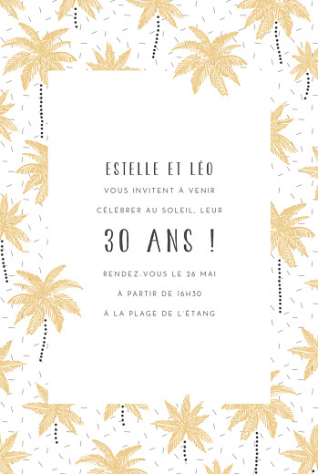 Carte Dinvitation Anniversaire Adulte Palmiers Rosemoodbe
