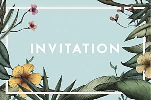Carton d'invitation mariage bleu fleurs des îles vert