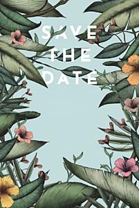 Save the date moderne fleurs des îles vert