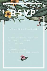 Carton réponse mariage moderne fleurs des îles vert