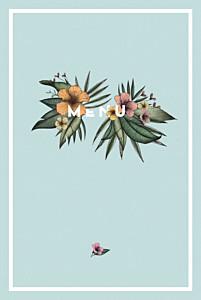 Menu de mariage moderne fleurs des îles vert