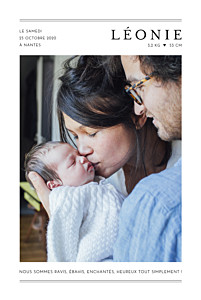 Faire-part de naissance jumeaux grand jour (portrait) blanc