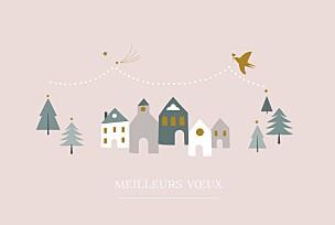 Carte de voeux rose village d'hiver rose