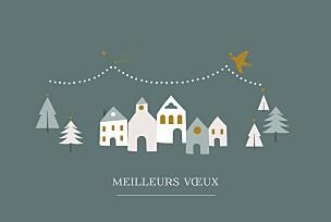 Carte de voeux mr & mrs clynk  village d'hiver sapin