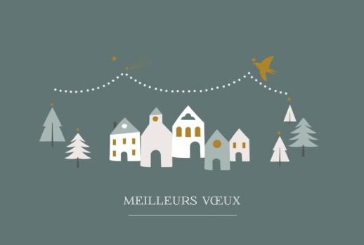 Carte de voeux Village d'hiver sapin