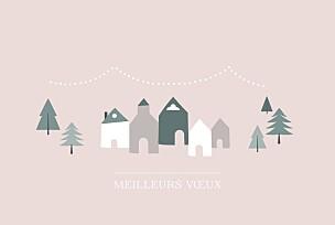 Carte de voeux dorée village d'hiver (dorure) rose