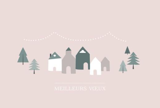 Carte de voeux Village d'hiver (dorure) rose