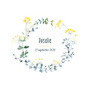 Faire-part de naissance jaune bouquet sauvage jaune