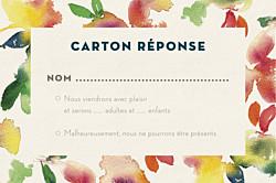 Carton réponse mariage original bloom crep beige