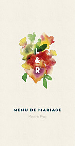 Menu de mariage original bloom menu beige