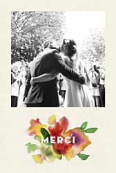 Carte de remerciement mariage moderne bloom crm beige