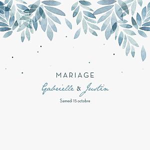 Faire-part de mariage blanc nuit d'été 4 pages (dorure) bleu