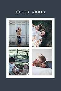 Carte de voeux corner 4 photos (dorure) bleu