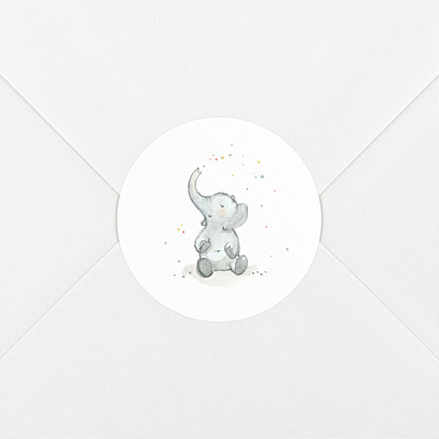 Stickers naissance éléphants en famille blanc