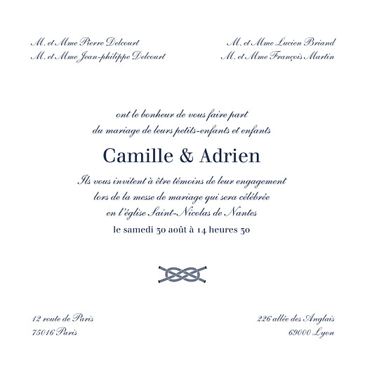Faire-part de mariage Marin bleu - Page 3