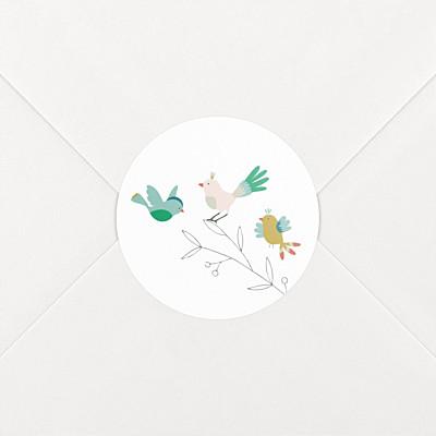 Stickers naissance oiseaux multicolores rose