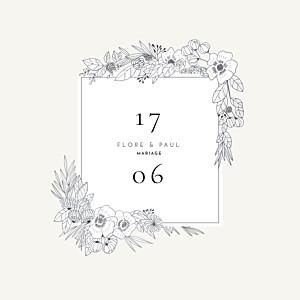 Faire-part de mariage beige esquisse fleurie blanc