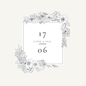 Faire-part de mariage tous genres esquisse fleurie blanc