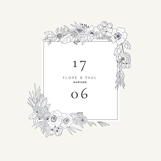 Faire-part de mariage Esquisse fleurie blanc