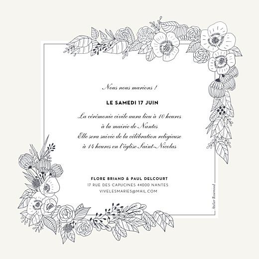 Faire-part de mariage Esquisse fleurie blanc - Page 2