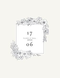 Faire-part de mariage vintage esquisse fleurie (portrait) blanc