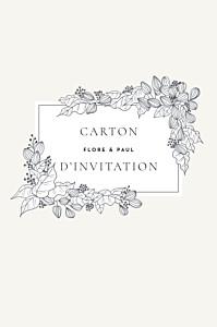Carton d'invitation mariage traditionnel esquisse fleurie portrait blanc