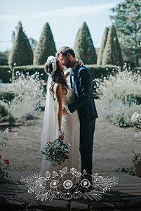 Carte de remerciement mariage beige esquisse fleurie portrait blanc