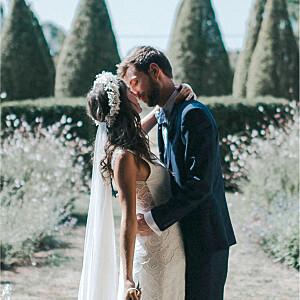 Carte de remerciement mariage beige esquisse fleurie blanc