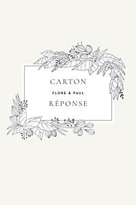 Carton réponse mariage beige esquisse fleurie (portrait) blanc