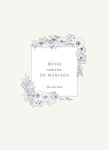Livret de messe mariage beige esquisse fleurie blanc