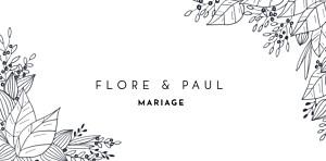 Marque-place mariage beige esquisse fleurie blanc
