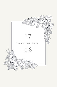 Save the date beige esquisse fleurie blanc