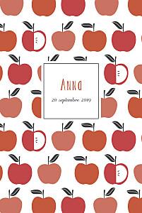 Faire-part de naissance design petits fruits pomme