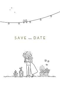Save the date original promesse bohème blanc