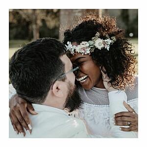 Carte de remerciement mariage vert promesse bohème (4 pages) blanc