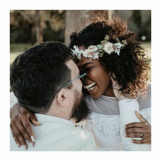 Carte de remerciement mariage Promesse bohème (4 pages) blanc