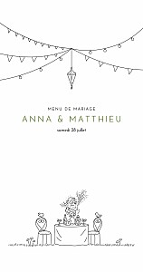 Menu de mariage promesse bohème (4 pages) blanc