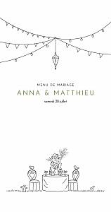 Menu de mariage vert promesse bohème (4 pages) blanc