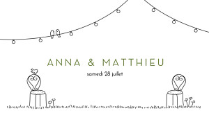 Marque-table mariage vert promesse bohème blanc