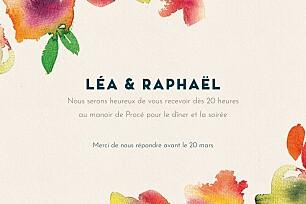 Carton d'invitation mariage beige bloom beige