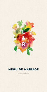 Menu de mariage moderne bloom beige