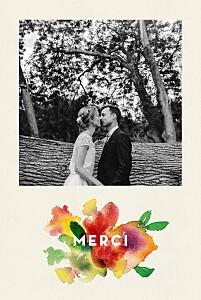 Carte de remerciement mariage champêtre bloom beige