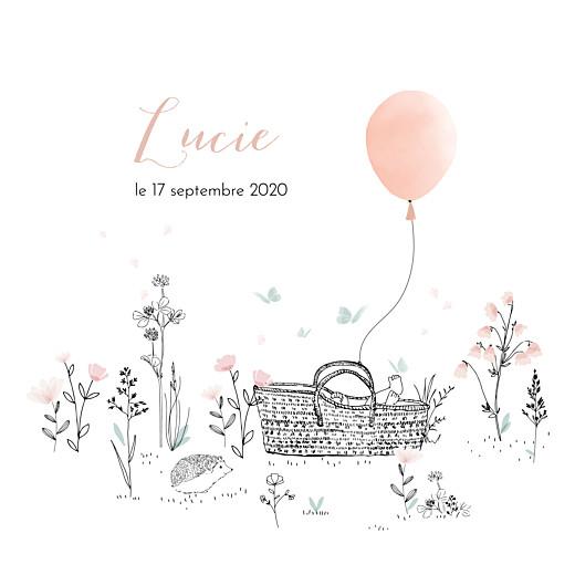 Faire-part de naissance Sieste sur l'herbe rose