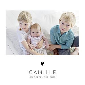 Faire-part de naissance jumeaux élégant cœur 4 pages (dorure) blanc