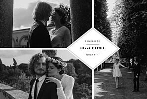 Carte de remerciement mariage original écusson 4 photos paysage blanc