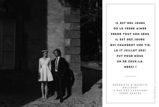 Carte de remerciement mariage Écusson 4 photos paysage blanc - Page 2