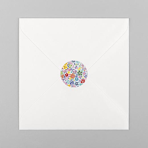 Stickers pour enveloppes naissance Mille fleurs multi-couleur - Vue 1